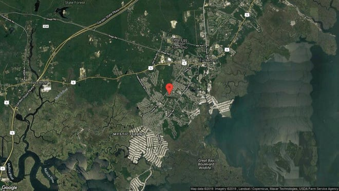 This aerial photo shows the approximate location of 42 Timberline Drive in Little Egg Harbor. The property at this address changed hands in September 2019, when new owners bought the property for $130,000.
