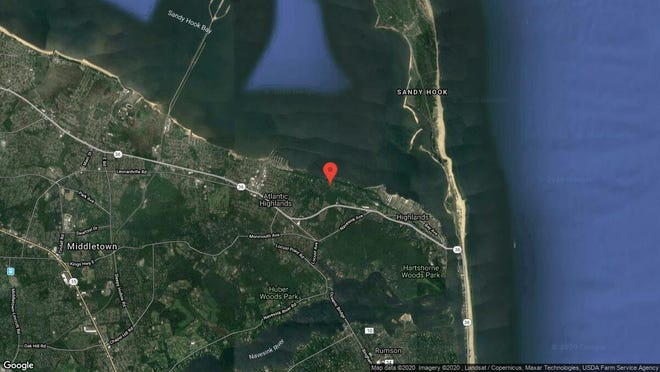 This aerial photo shows the approximate location of 15 Belvidere Road in Atlantic Highlands. The property at this address changed hands in December 2019, when new owner bought the property for $1,045,200.