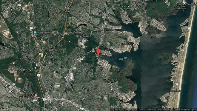 This aerial photo shows the approximate location of 1615 Waters Edge Drive in Toms River. The property at this address changed hands in November 2019, when new owner bought the property for $186,000.