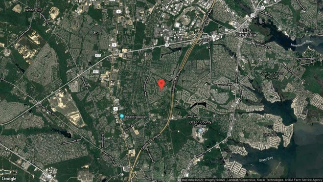 This aerial photo shows the approximate location of 1585 Lacebark Road in Toms River. The property at this address changed hands in November 2019, when new owners bought the property for $280,000.