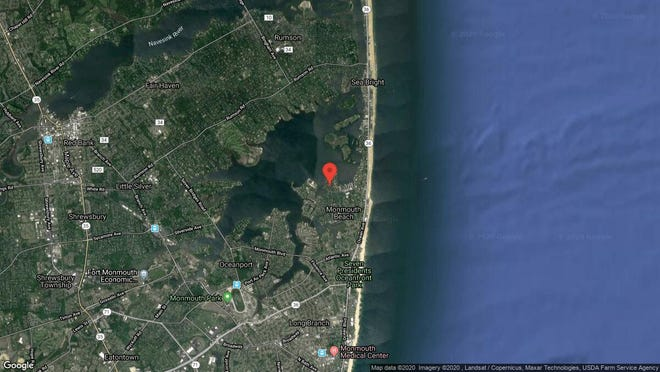 This aerial photo shows the approximate location of 48 Navesink Drive in Monmouth Beach. The property at this address changed hands in December 2019, when new owners bought the property for $1,625,000.