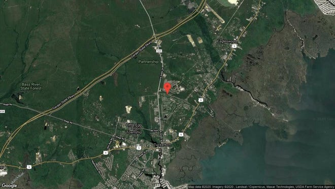 This aerial photo shows the approximate location of 387 Frog Pond Road in Little Egg Harbor. The property at this address changed hands in December 2019, when new owners bought the property for $259,000.