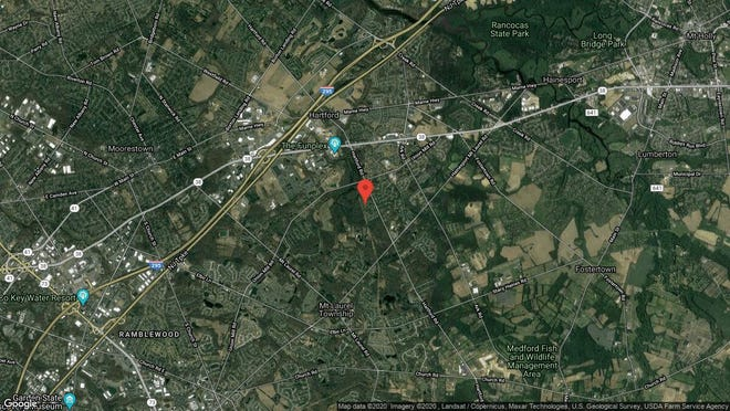 This aerial photo shows the approximate location of 184B Collin Court in Mount Laurel. The property at this address changed hands in December 2019, when new owner bought the property for $149,900.