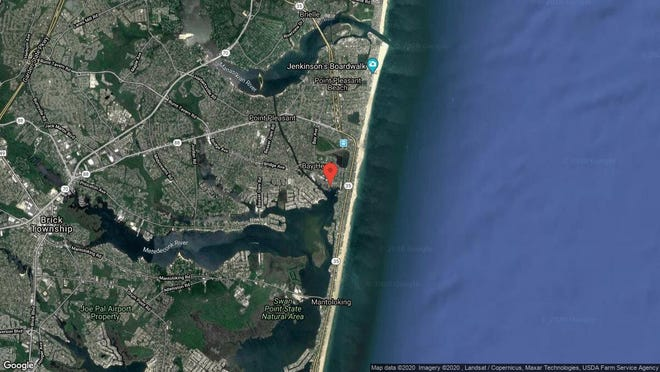 This aerial photo shows the approximate location of 59 Bay Point Harbour in Point Pleasant. The property at this address changed hands in January 2020, when new owner bought the property for $875,000.