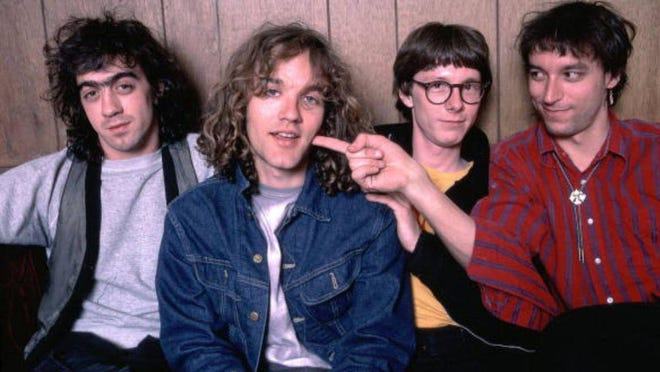 Athens, Ga.-born band R.E.M., circa 1987, riding the end of the world to the top of the charts. From left, Bill Berry, Michael Stipe, Mike Mills, Peter Buck.