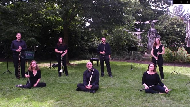 """The NBSO's The woodwind musicians got together at the Gardens at Elm Bank at the Massachusetts Horticultural Society in Wellesley to perform """"Variations on a Shaker Melody"""" from Aaron Copland's Appalachian Spring."""