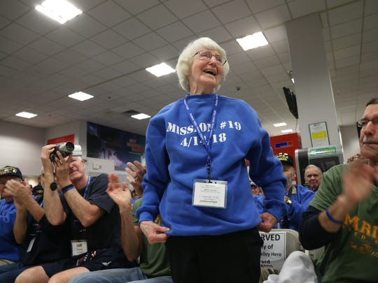 Betty Jurgens, a Korean War Marine Corps veteran is recognized by the crowd at the Hudson Valley Honor Flight on April 14, 2018 at Stewart Airport.