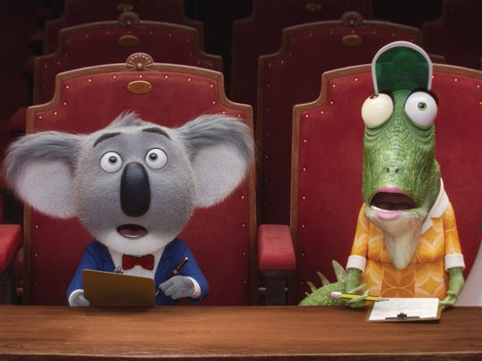 Buster Moon (left, voiced by Matthew McConaughey) and