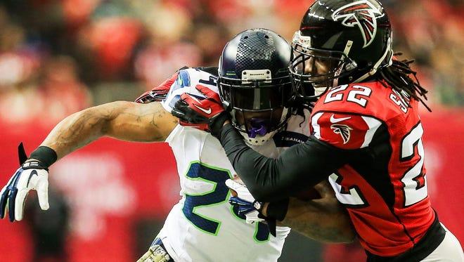Seahawks RB Marshawn Lynch ran over the Falcons on Sunday.