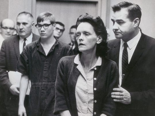 Richard Dean Hobbs, 15 and Gertrude Baniszewski listen to Judge Harry Zaklan as he orders then bound over to the Marion County grand jury Nov. 1, 1965.  Both were charged with the murder of Sylvia LIkens.