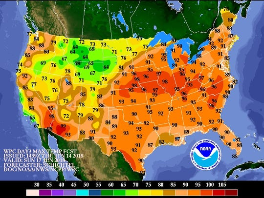 Forecast high temperatures for Father's Day, Sunday
