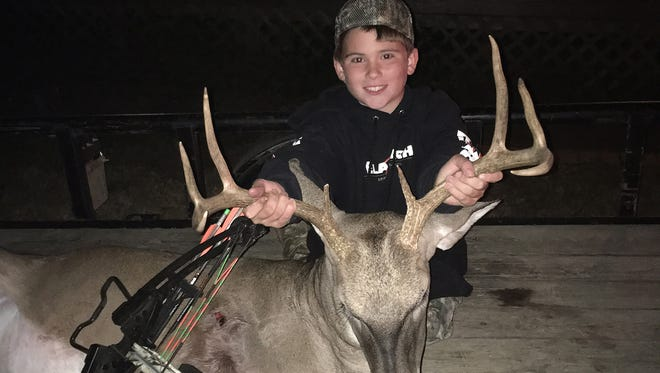Finn Norsworthy, 14, of Brandon, is entered in the Youth Hunter Photo contest and could win a Mission bow from B&B Archery in Pearl.