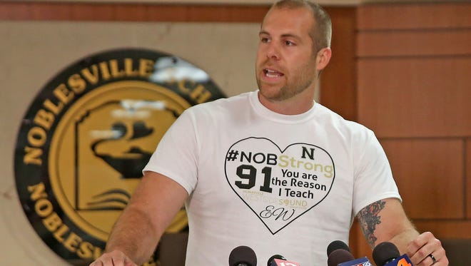 Seventh-grade science teacher Jason Seaman, shown speaking at a news conference on May 28, 2018, was shot three times in the Noblesville school shooting on May 25 and is credited with helping to stop the attack.