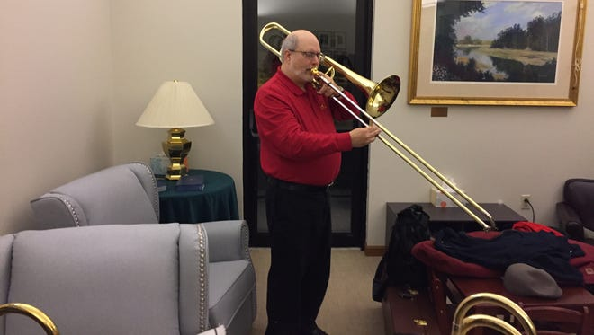 Jerry Heilner warms up before a Jan. 5, 2018 concert at Derry Presbyterian Church in Hershey.
