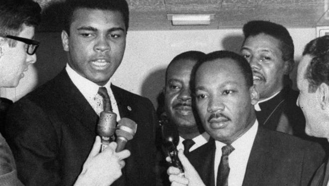 Boxing champion Muhammad Ali, with Martin Luther King, explains his religious reason for not joining the Army in 1967.