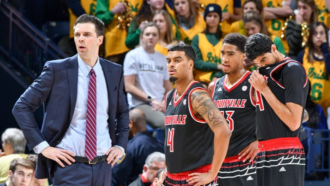 Louisville Cardinals acting head coach David Padgett pauses in the first half against the Notre Dame Fighting Irish at the Purcell Pavilion in South Bend, Indiana, on Tuesday, Jan. 16, 2018.