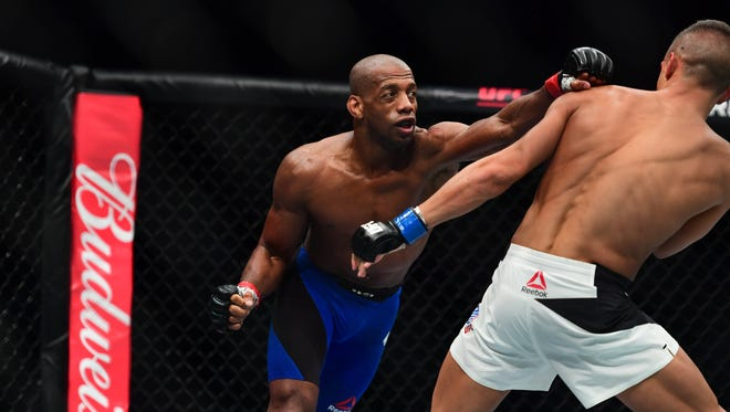 Apr 15, 2017: Patrick Williams (Red Gloves) fights Tom Duquesnoy (Blues Gloves) during UFC Fight Night at the Sprint Center.