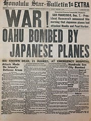 Front page of the Honolulu Star Bulletin after the attack on Pearl Harbor. The headline says six known dead and 21 injured when in fact 2,403 died in the attack and 1,178 were wounded. Photo courtesy of the University of Arizona Special Collections.