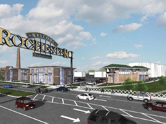 A rendering of the planned CityGate project looking northeast into the site from East Henrietta Road.