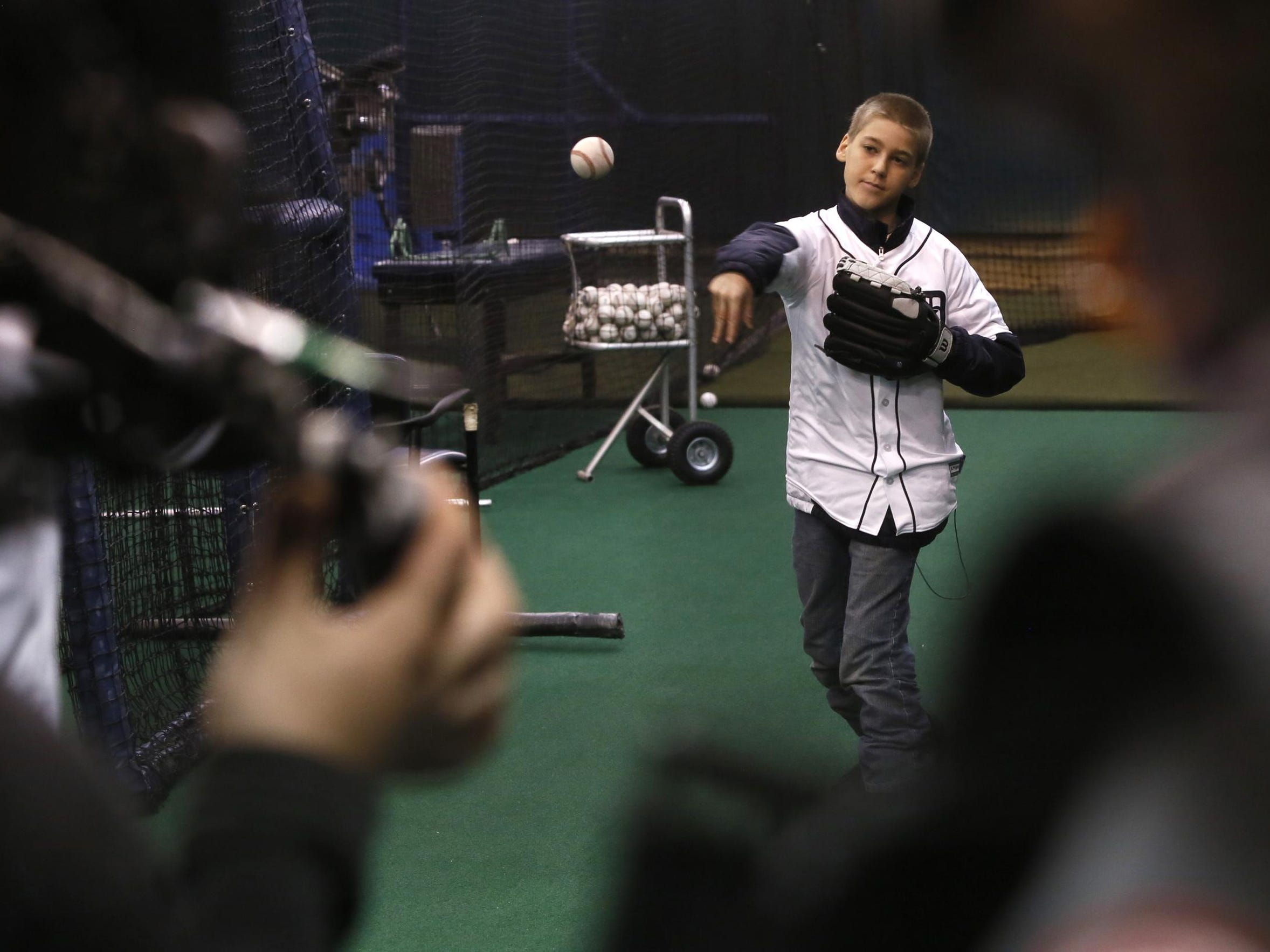 Cameras record as Hunter Bowman pitches to Tigers pitcher