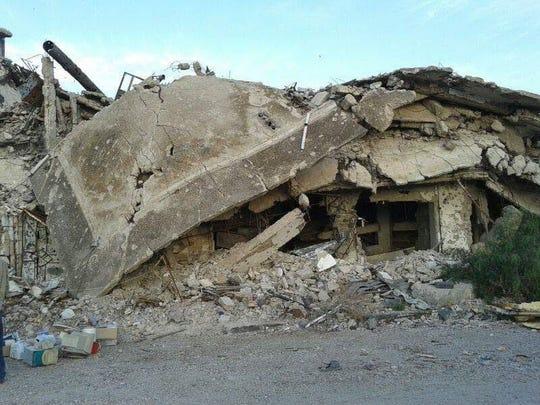 Kefah Ksebe's former four-story home in Homs, Syria.