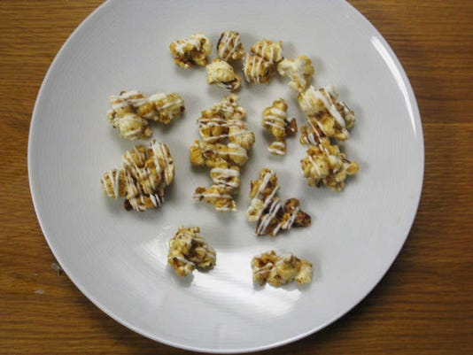 White-Chocolate Caramel Corn can be stored in an airtight container for up to a week.