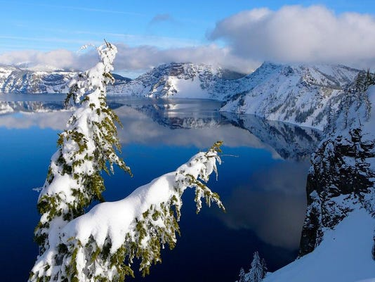 Crater Lake is not the same national park in winter as it is in summer, and on a clear day,