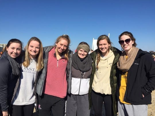 Ursuline seniors Maddie Tallman, Kayla Larmore, Megan Ogden, Lindsay Tucker, Lindsay Brown and Sarah Taylor at the Polar Bear Plunge.