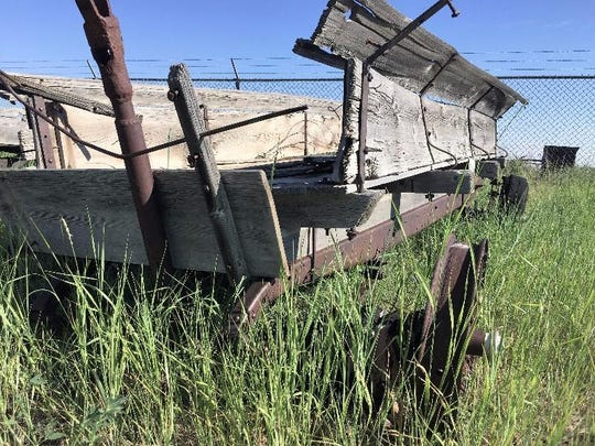 A wagon built on top of a circa 1928 Pontiac chassis was likely used for hauling grain.