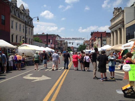 Crowds milled about several blocked-off blocks of Court Street in downtown Binghamton during July Fest and the Binghamton Music & Jazz Festival.