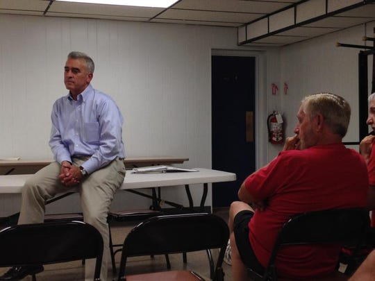 Rep. Brad Wenstrup, R-Cincinnati, said veterans' wait times for medical care are unacceptable during his town hall meeting in 2014 at VFW Post 108.