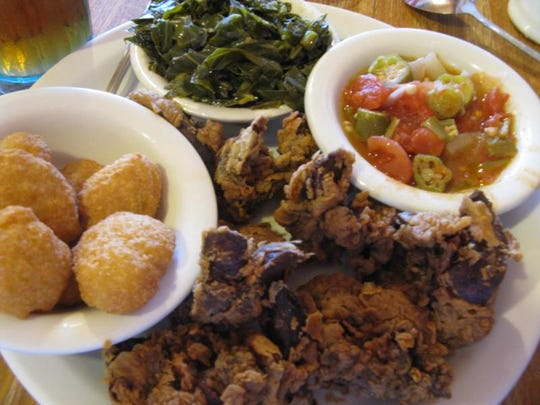 Fried chicken livers with three sides from Farmers