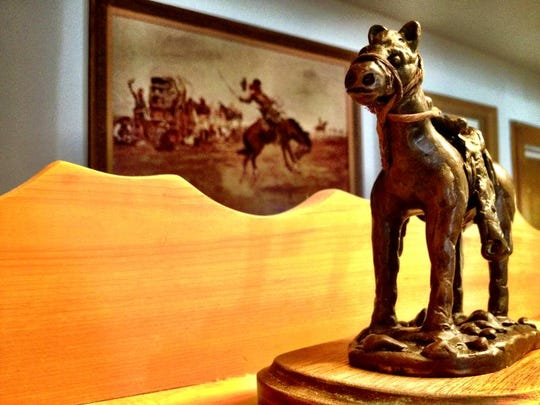 """Keeno,"" a horse by artist Dale Sheldon is on display in his Conrad home."