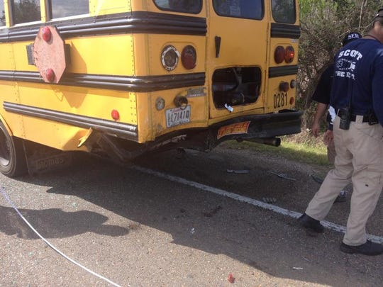 The back of a Lafayette Parish school bus is shown after it was involved in a crash April 7. The bus occupants sustained minor injuries.