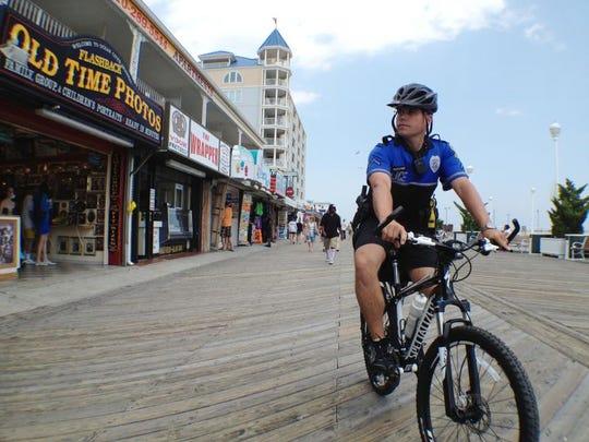 Ocean City Police patrol on the Boardwalk in this file