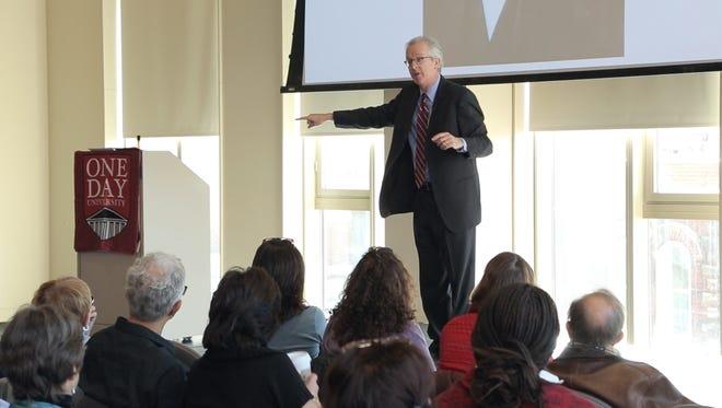 Rutgers professor Louis Masur speaks at a recent One Day University class.