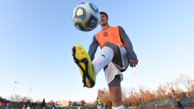 Billy Collins. a member of the Ramapo's boys soccer team during the team's practice.