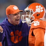 Clemson defensive coordinator Brent Venables yells at defensive back Ryan Carter (31) after a North Carolina TD during the 2nd quarter of the ACC Championship at Bank of America Stadium in Charlotte Friday, Dec. 4, 2015.