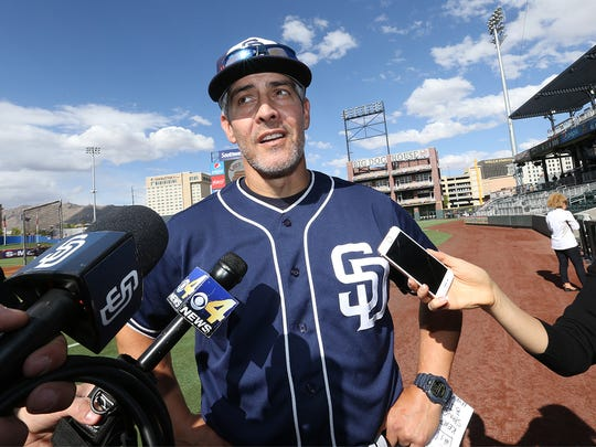Native El Pasoan Alan Zinter talks about his return visit to El Paso on the field at Southwest University Park Thursday.