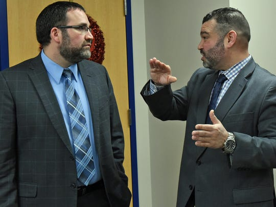 Pedro Rivera, right, Pa. education secretary, speaks to Greencastle-Antrim High School principal Ed Rife on Tuesday, February 14, 2017. Sec. Rivera was in town for the Schools That Teach tour at Greencastle-Antrim Elementary School.