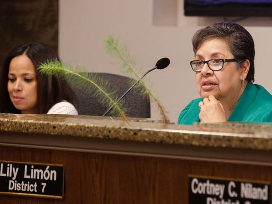 District 7 city Rep. Lily Limón listens Tuesday as Jessica Herrera, the city's interim director of economic and international development, gives her presentation to the City Council on the Hotel Paso del Norte project. Limón was the only city representative to vote against an incentive agreement for the project.