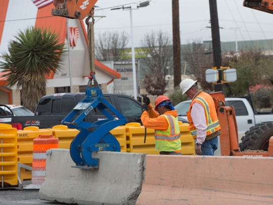 Construction crews changed the flow of traffic on Main and Solano to continue working on the three Crosses project Thursday January 4, 2017.