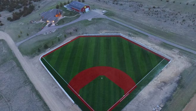 Aerial view of the ballpark Tyler and McKenzie Hanson built on their property outside Yankton.