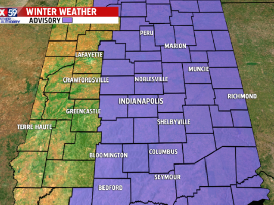 A Winter Weather Advisory is in effect Monday for parts of central Indiana,