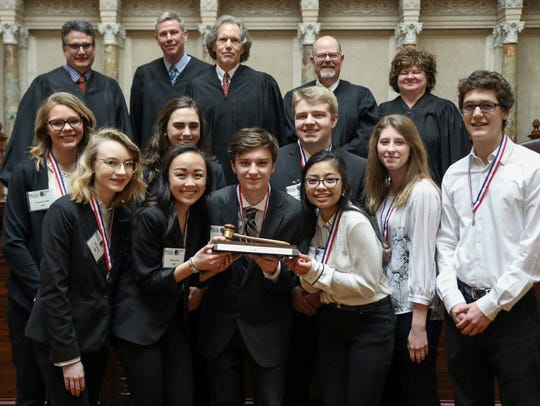 D.C. Everest mock trial team members pose with the