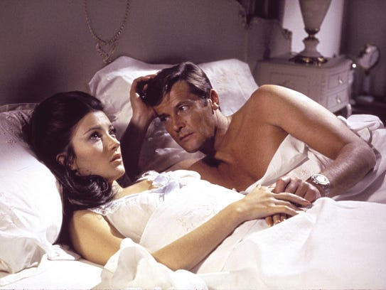 "Roger Moore romances Jane Seymour in ""Live and Let"