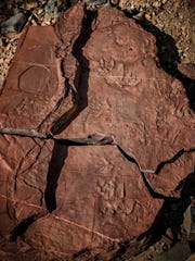 Hikers at the Prehistoric Trackways National Monument