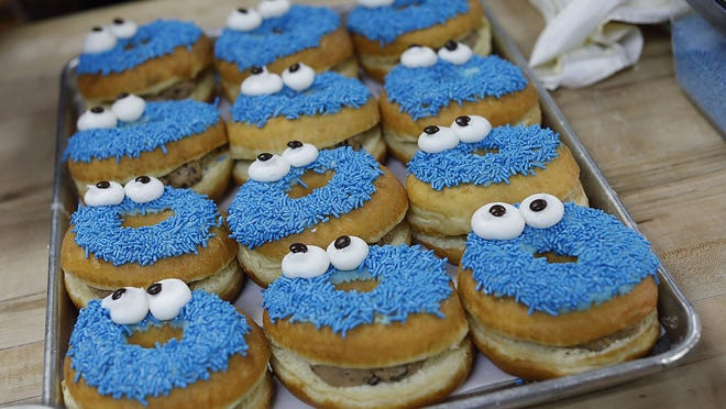 Cookie Monster doughnuts at the Donut King in Weymouth.