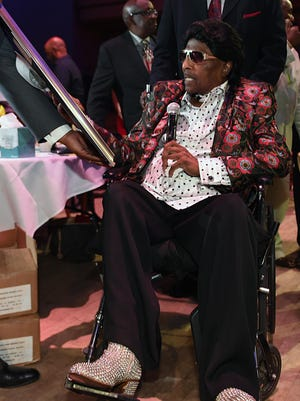 "Little Richard was presented with the Rhapsody & Rhythm Award during ""A Celebration of Legends"" luncheon Friday at the Wildhorse Saloon in Nashville."