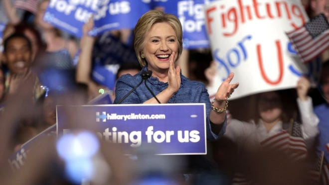 Democratic presidential candidate Hillary Clinton spoke at an election night event at the Palm Beach County Convention Center in West Palm Beach in May.